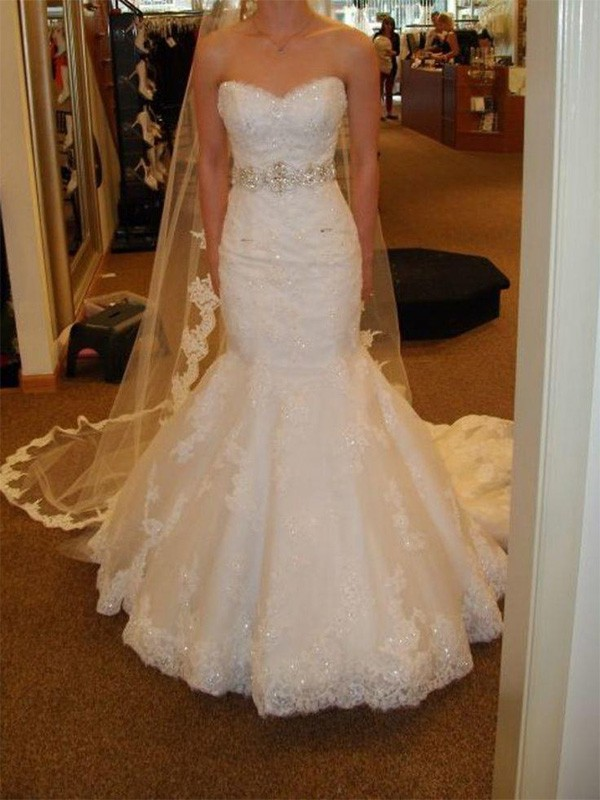 7f13fd5fee3a Trumpet/Mermaid Sleeveless Sweetheart Court Train Sash/Ribbon/Belt Lace  Tulle Wedding Dresses
