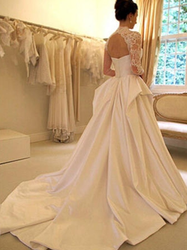 09715a3e4c7 Ball Gown Satin Lace High Neck Long Sleeves Chapel Train Wedding Dresses ...