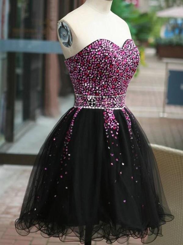 333dd9a70605 A-Line/Princess Sleeveless Sweetheart Tulle Beading Short/Mini Dresses ...