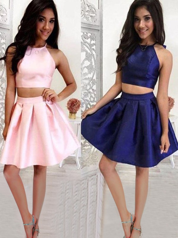9c74454115 A-Line Princess Ruffles Halter Satin Sleeveless Short Mini Two Piece Dresses