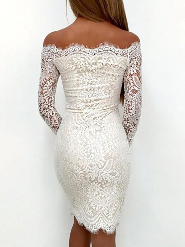 5e3bbee7a75b Sheath Column Long Sleeves Off-the-Shoulder Lace Short Mini Dresses ...