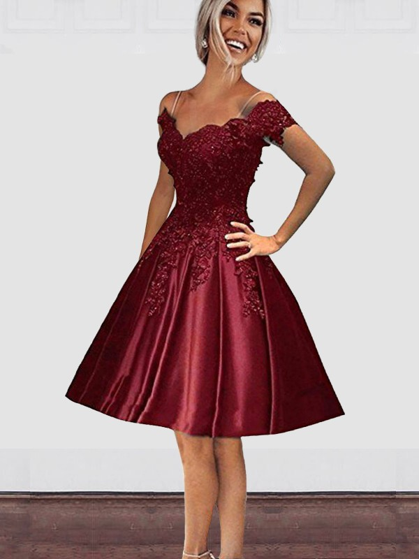3ad7f1f1d03 A-Line Off-the-Shoulder Cut Short With Applique Satin Burgundy Homecoming  Dresses