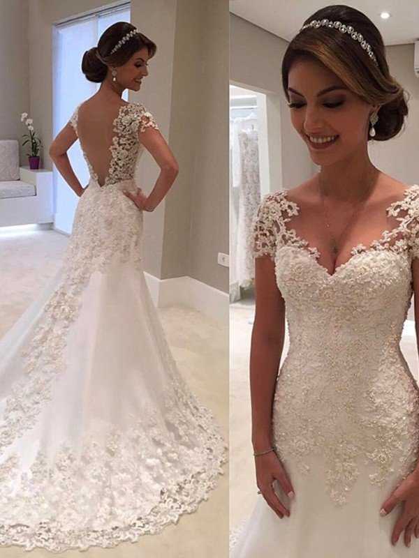 Wedding Dress With Sleeves.Trumpet Mermaid Short Sleeves Sweetheart Sweep Brush Train Lace Wedding Dresses