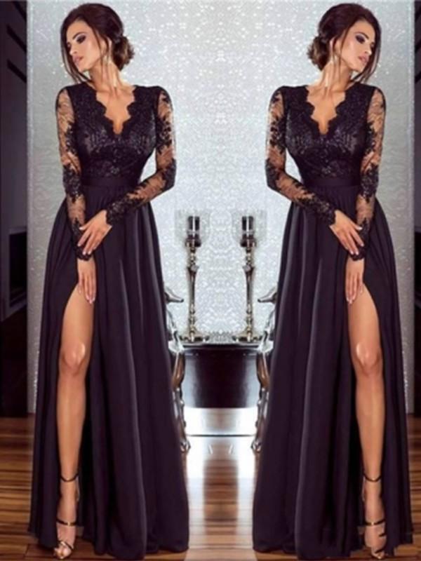 9ab764f1a8f9 A-Line/Princess Long Sleeves V-neck Floor-Length Lace Chiffon Applique