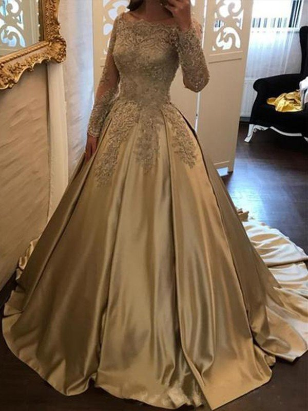 221aea0f5e Ball Gown Long Sleeves Off-the-Shoulder Sweep Brush Train Applique Satin  Dresses