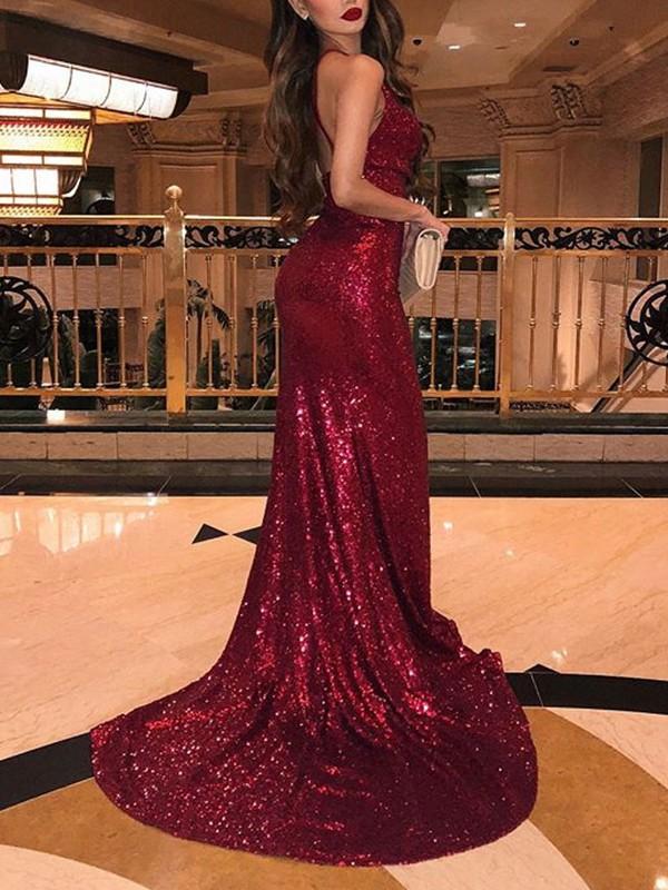 Trumpet Mermaid Sleeveless V-neck Sweep Brush Train Ruffles Sequins Dresses bfd000445