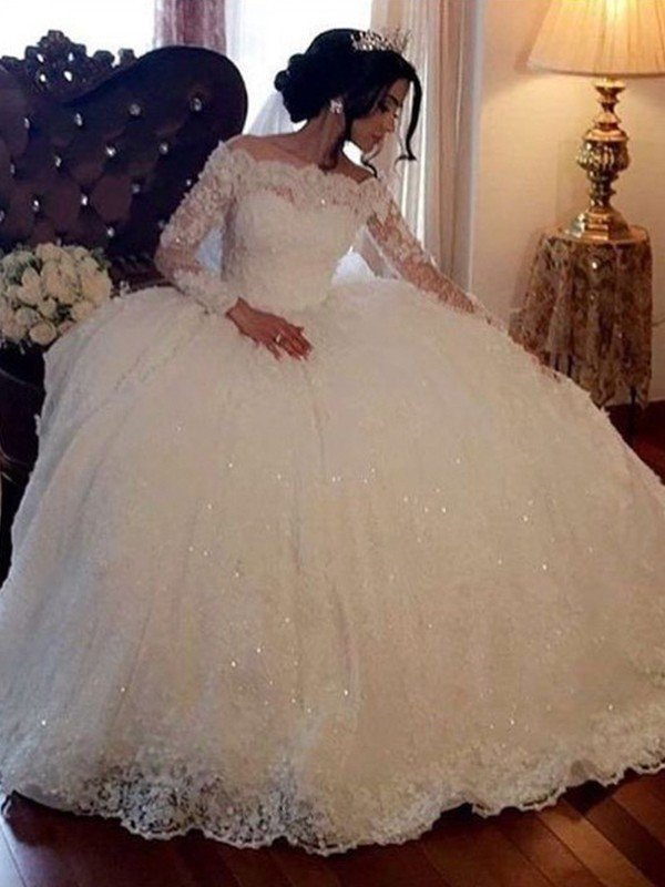 3ec7a3032 Ball Gown Bateau Long Sleeves Floor-Length Lace Tulle Wedding Dresses