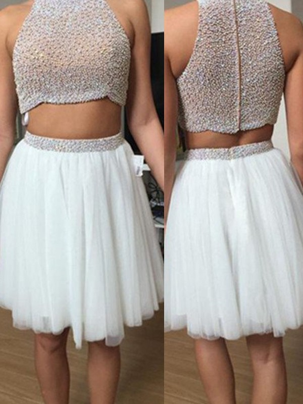 A-Line Princess Sleeveless High Neck Tulle Beading Short Mini Two Piece  Dresses 3d7c66ae9