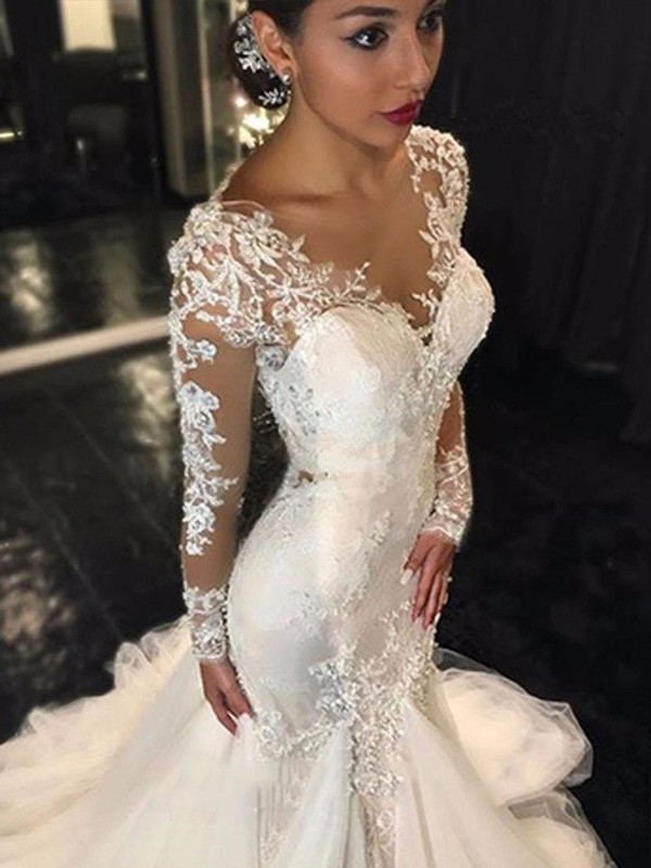 Trumpetmermaid V Neck Long Sleeves Lace Court Train Tulle Wedding