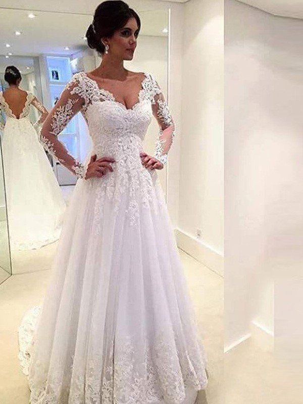 Ball Gown V Neck Long Sleeves Lace Sweepbrush Train Tulle Wedding Dresses