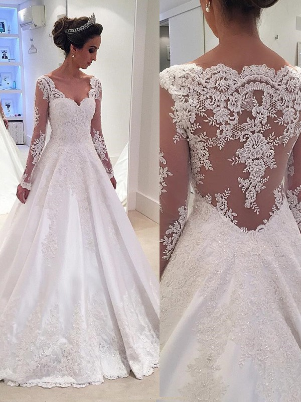 Ball Gown V Neck Long Sleeves Lace Court Train Satin Wedding Dresses