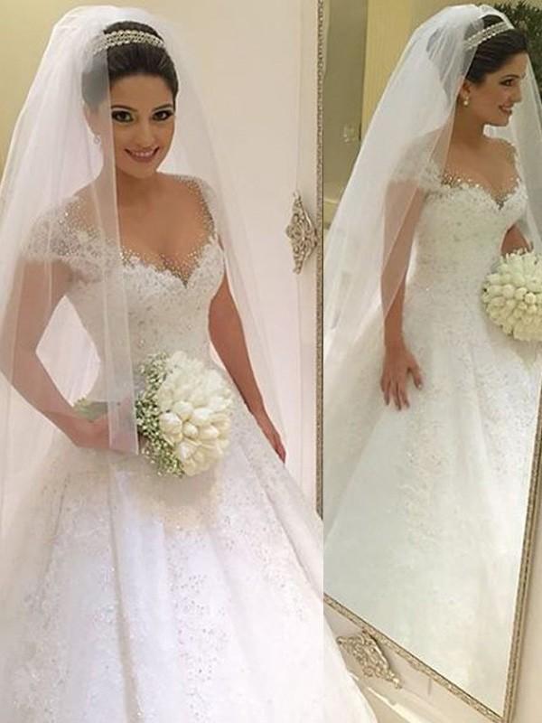Ball Gown Sleeveless V-neck Beading Floor-Length Tulle Wedding ...