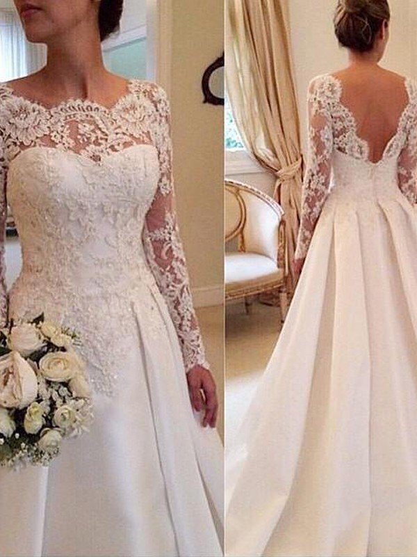 Ball Gown Scoop Long Sleeves Lace Court Train Satin Wedding Dresses ...