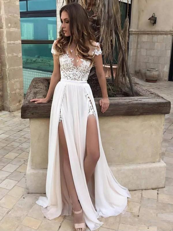 A-Line/Princess V-neck Floor-Length Sleeveless Lace Chiffon Wedding ...