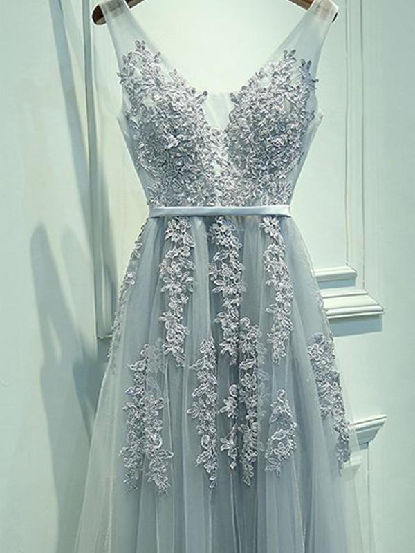 76ad1a18321 A-Line Princess Sleeveless V-neck Tulle Applique Floor-Length Dresses