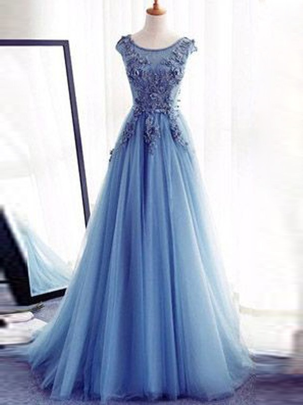 Ball Gown Sleeveless Jewel Floor-Length Applique Tulle Dresses ...