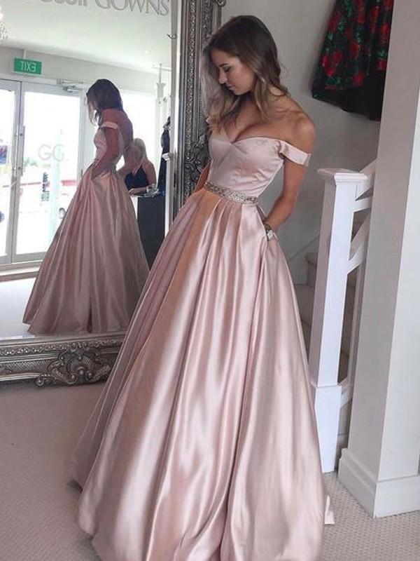 9a462a3f353c A-Line Princess Off-the-Shoulder Sleeveless Floor-Length Satin Dresses