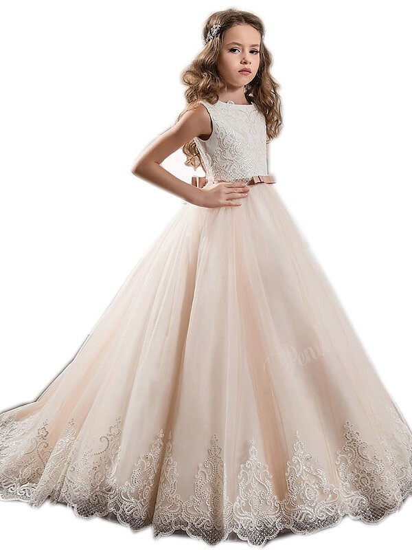 Ball Gown Jewel Sleeveless Lace Sweep Brush Train Tulle Flower Girl Dresses 3efd237c8a30
