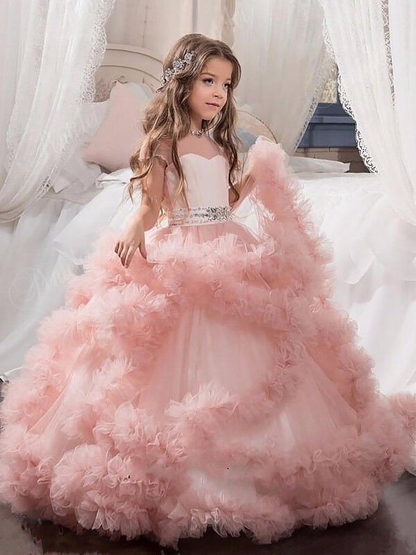 Ball Gown Jewel Short Sleeves Crystal Floor Length Tulle Flower Girl