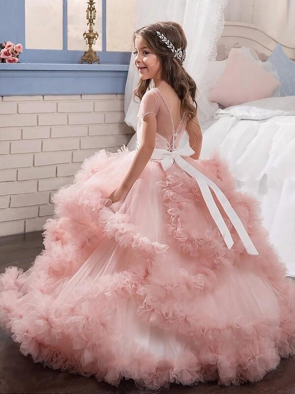 c917b4f8aef5 Ball Gown Jewel Short Sleeves Crystal Floor-Length Tulle Flower Girl Dresses