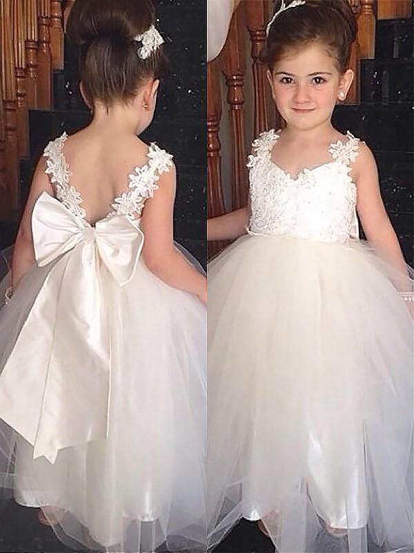 5f2259160e8 Ball Gown Sweetheart Sleeveless Bowknot Floor-Length Tulle Flower ...