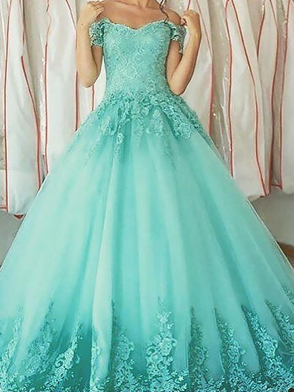 Ball Gown Sleeveless Off-the-Shoulder Applique Floor-Length Tulle ...