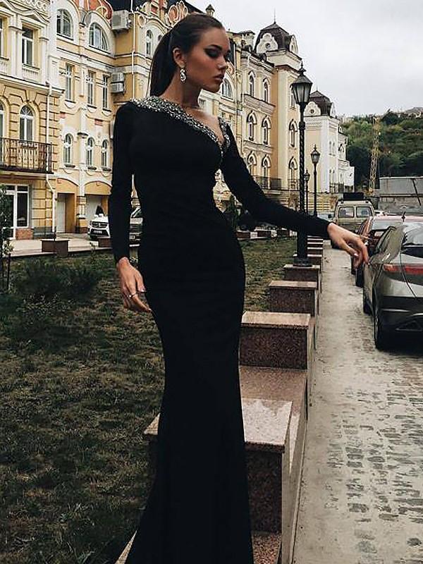 ae0e1ddf31a Trumpet Mermaid Long Sleeves One-Shoulder Satin Beading Sweep Brush Train  Dresses ...