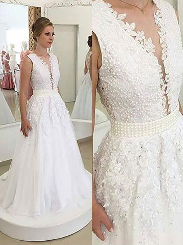 A-Line Princess V-neck Applique Sleeveless Sweep Brush Train Tulle Wedding a14388769
