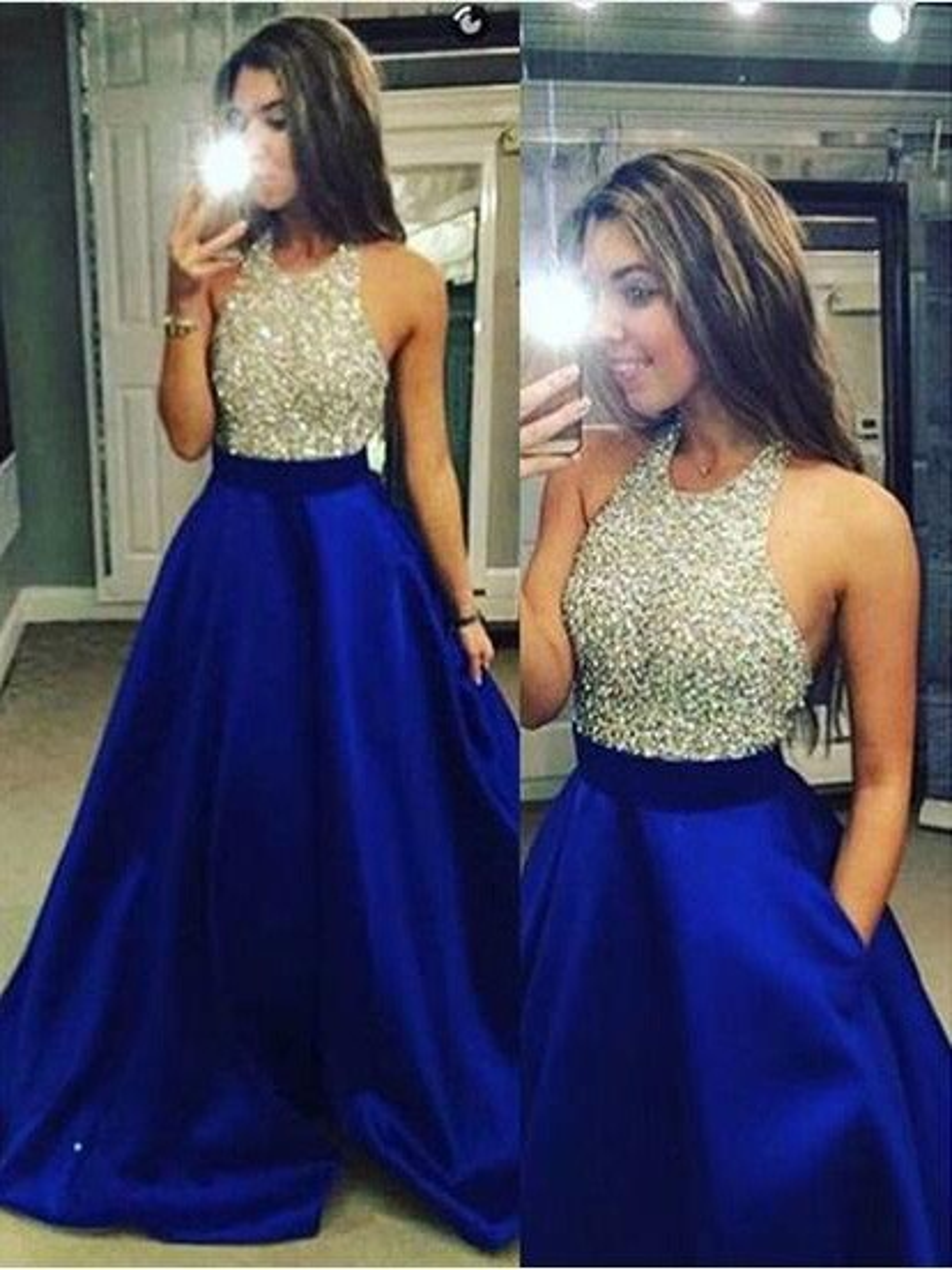 2cfa6207 Ball Gown Sleeveless Jewel Crystal Satin Floor-Length Dresses - Hebeos