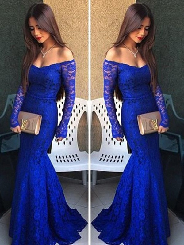 Trumpet/Mermaid Off-the-Shoulder Long Sleeves Lace Floor-Length ...