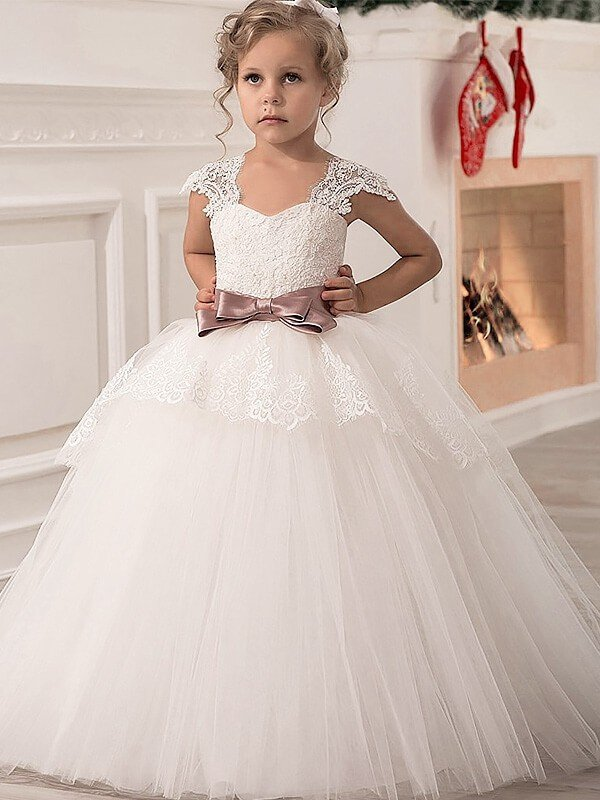 9a2adae80ae Ball Gown Straps Sleeveless Sash Ribbon Belt Tulle Floor-Length Flower Girl  Dresses