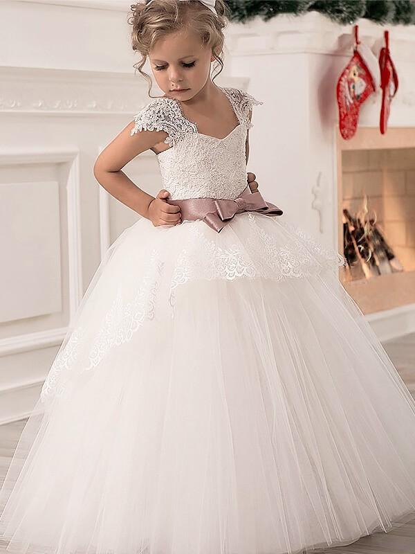 50848d7684e8e Ball Gown Straps Sleeveless Sash Ribbon Belt Tulle Floor-Length Flower Girl  Dresses