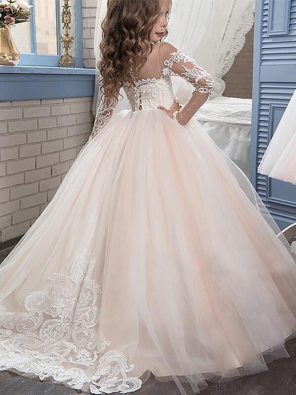 37923b0eda08 Ball Gown Scoop Long Sleeves Sweep/Brush Train Tulle Flower Girl ...