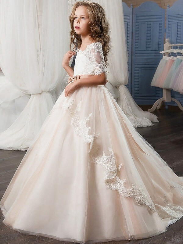 Ball Gown Off-the-Shoulder Short Sleeves Tulle Sash/Ribbon/Belt ...