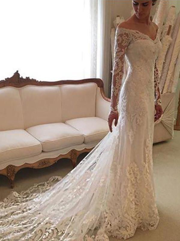 ca43e17cc0d6 Sheath/Column Long Sleeves Lace Off-the-Shoulder Court Train Wedding Dresses