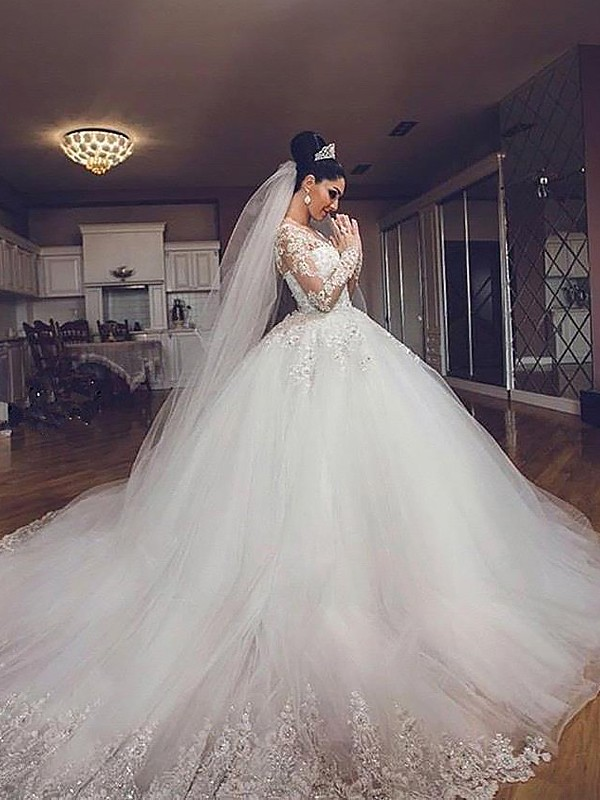 66b6eb7a08ab Ball Gown Long Sleeves Tulle V-neck Court Train Wedding Dresses - Hebeos