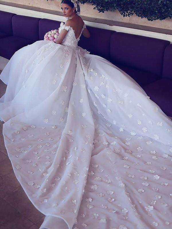 81b1af201a87 ... Ball Gown Satin Chiffon V-neck Sleeveless Chapel Train Wedding Dresses  ...