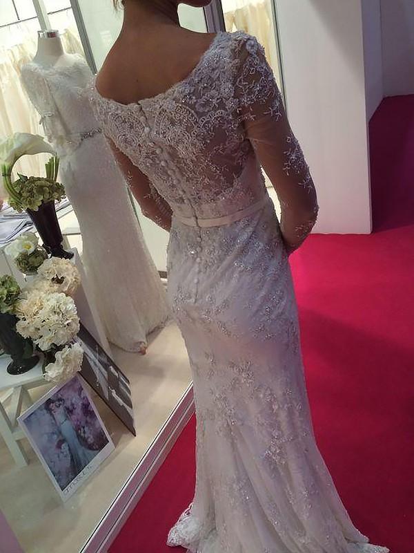 a6c7311cbf Sheath/Column Scoop Long Sleeves Lace Chiffon Sweep/Brush Train Wedding  Dresses