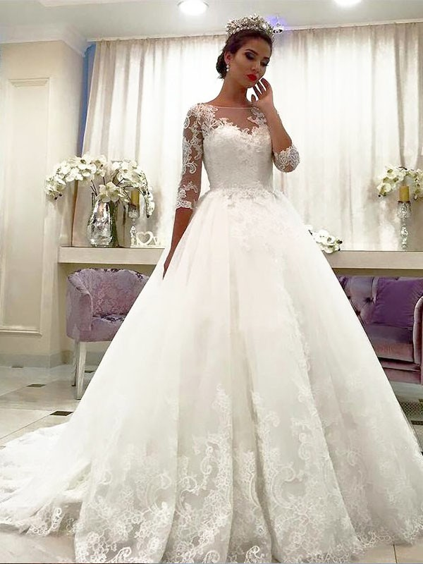 3e5bf967414a Ball Gown Tulle 3/4 Sleeves Bateau Lace Court Train Wedding Dresses ...