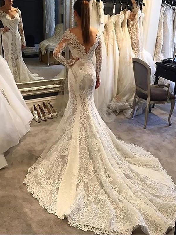 Trumpet/Mermaid V-neck Long Sleeves Court Train Lace Wedding Dresses ...