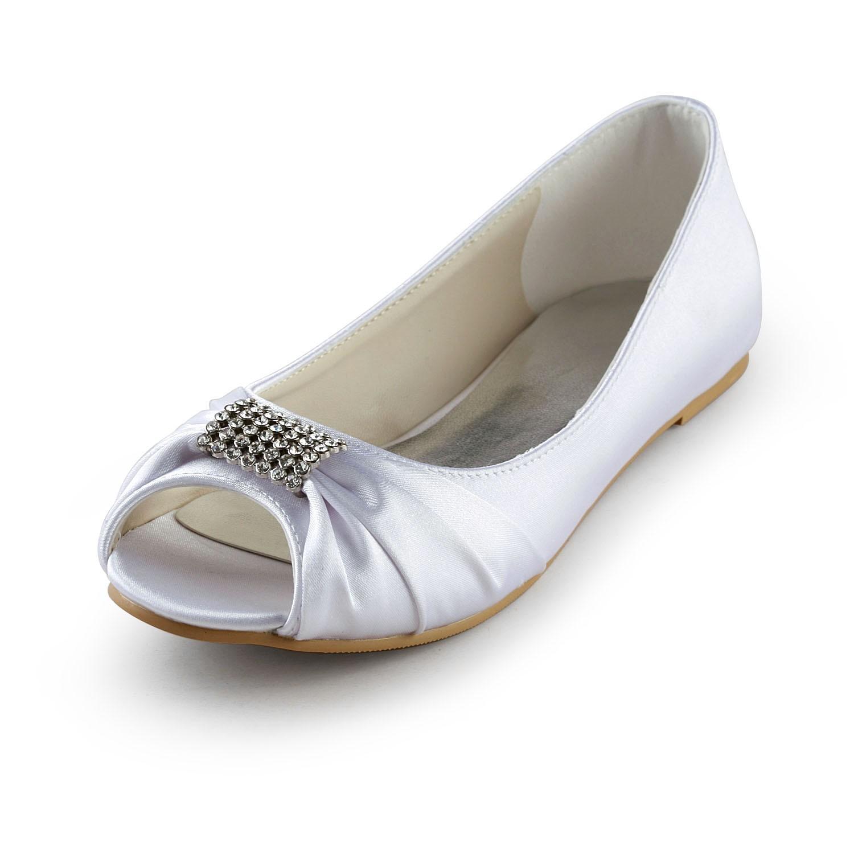 Women s Satin Flat Heel Peep Toe Sandals White Wedding Shoes With ... 64fd5191028d