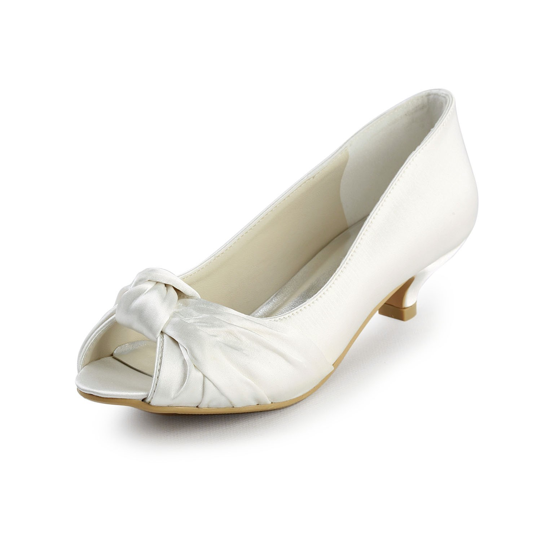11f19efa3a6 Women s Satin Kitten Heel Peep Toe Sandals White Wedding Shoes With ...