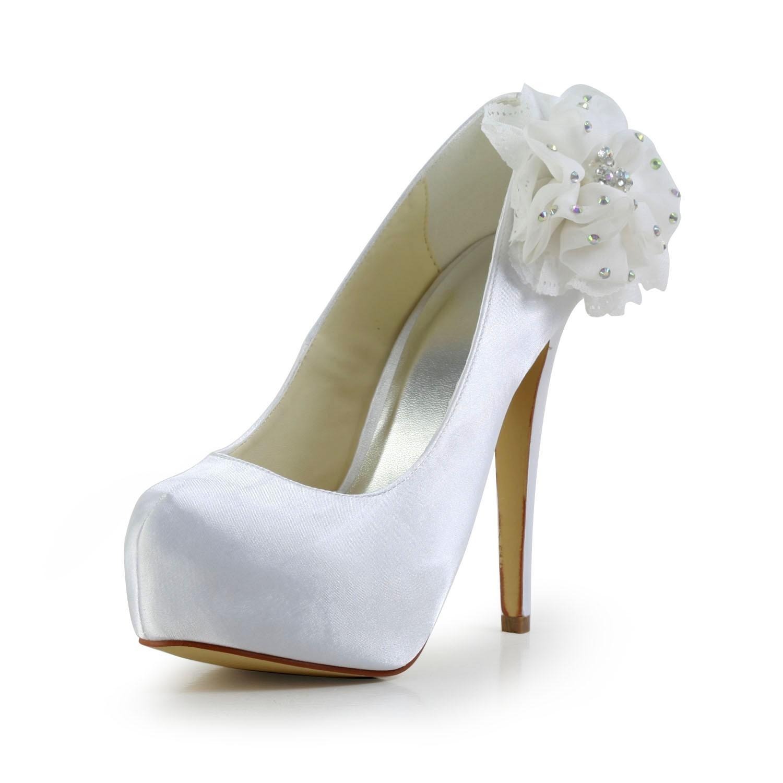 4b9679da5 Women s Satin Stiletto Heel Closed Toe Platform White Wedding Shoes ...
