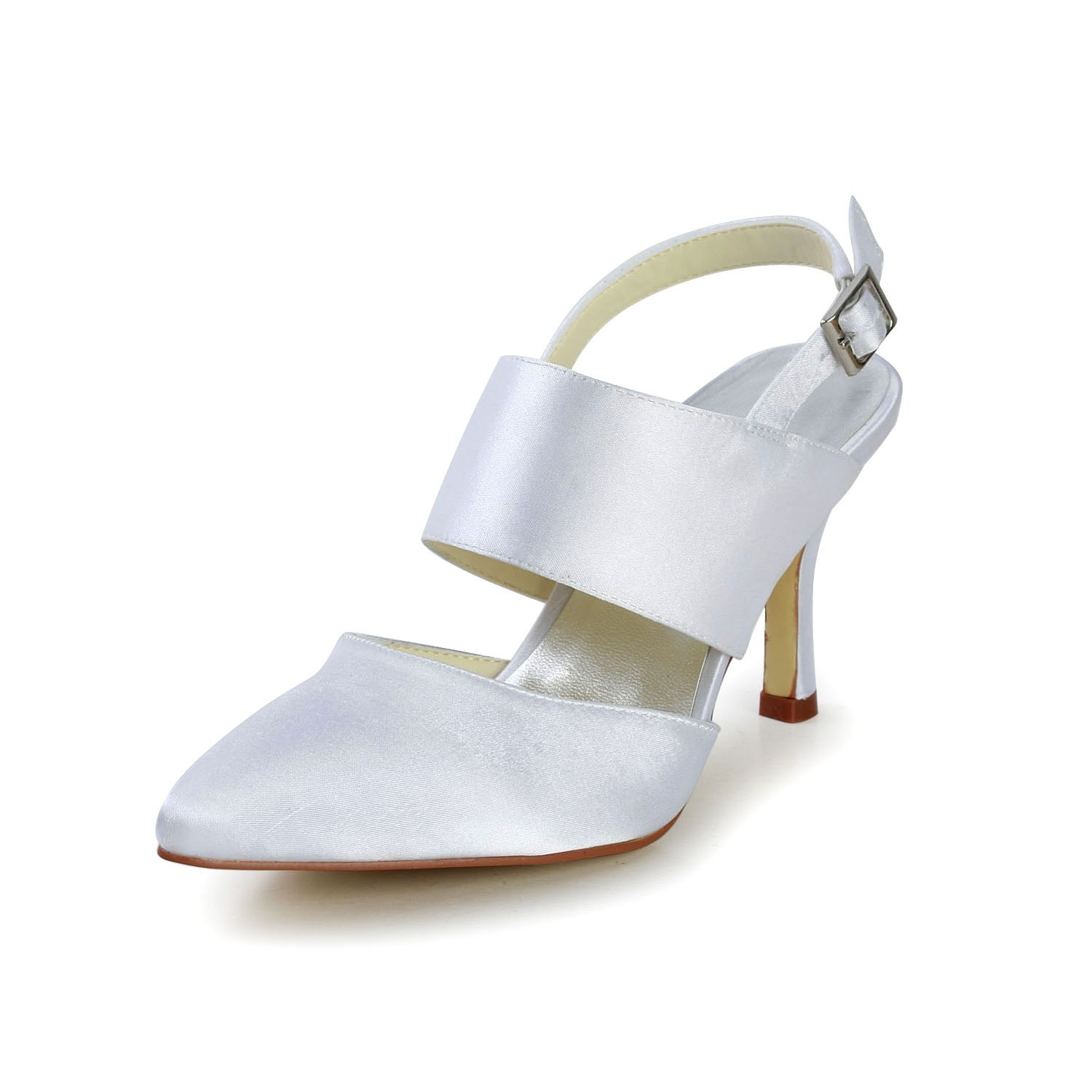 Women s Satin Stiletto Heel Closed Toe With Buckle White Wedding ... 4f205cfd0105