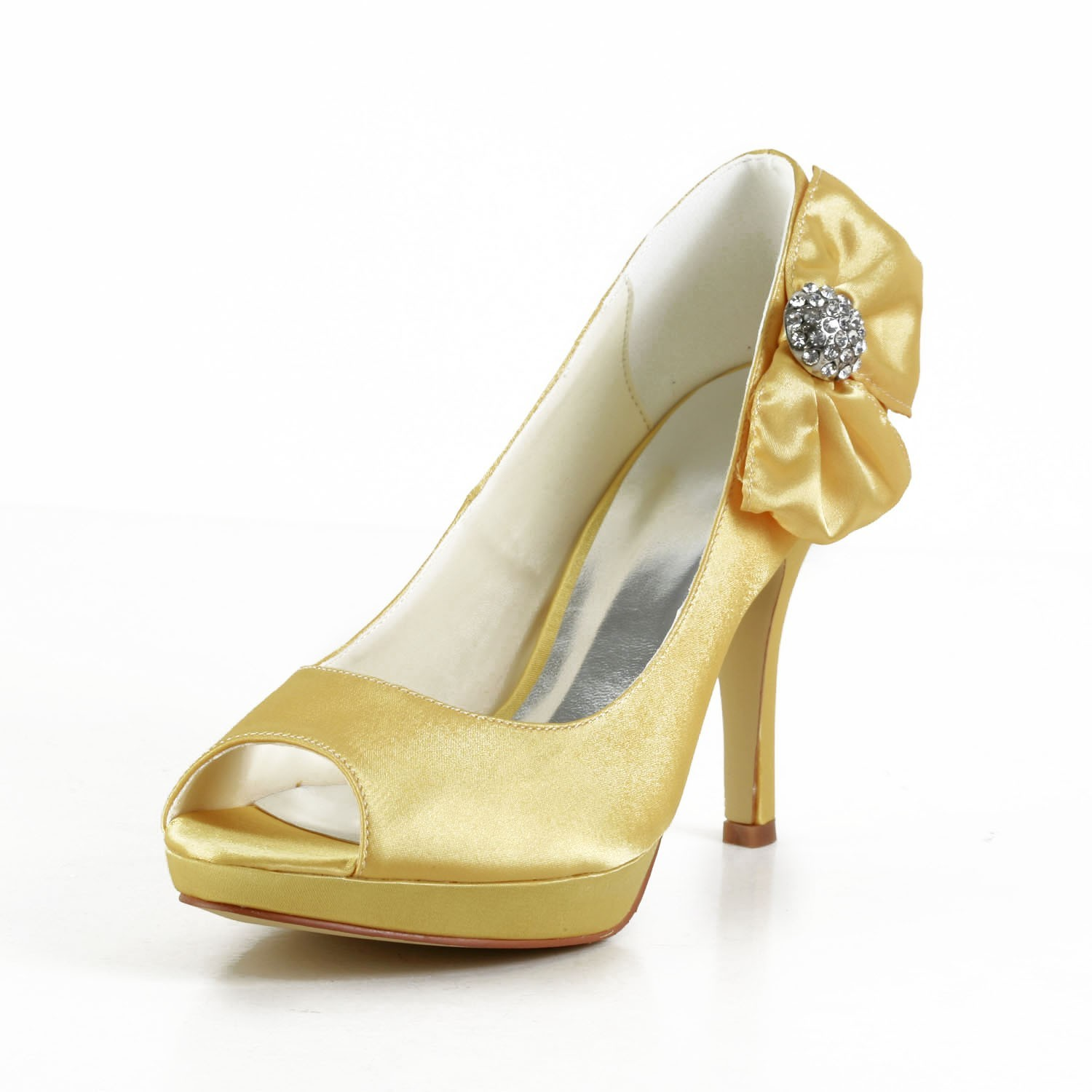 women s satin stiletto heel peep toe platform gold wedding shoes with bowknot s a