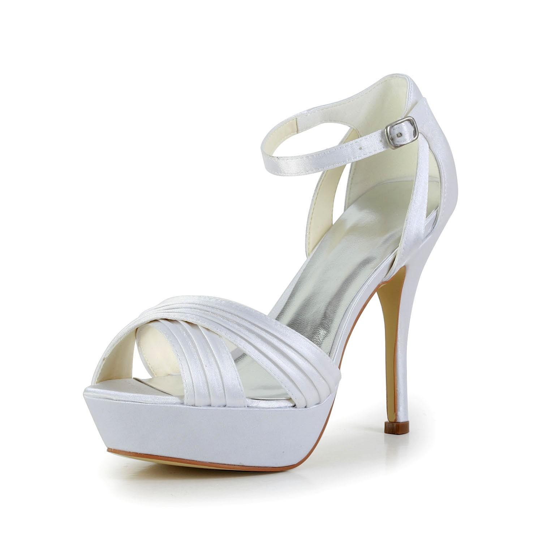 0beb50c896be5 Women s Satin Stiletto Heel Peep Toe Platform Sandals White Wedding ...
