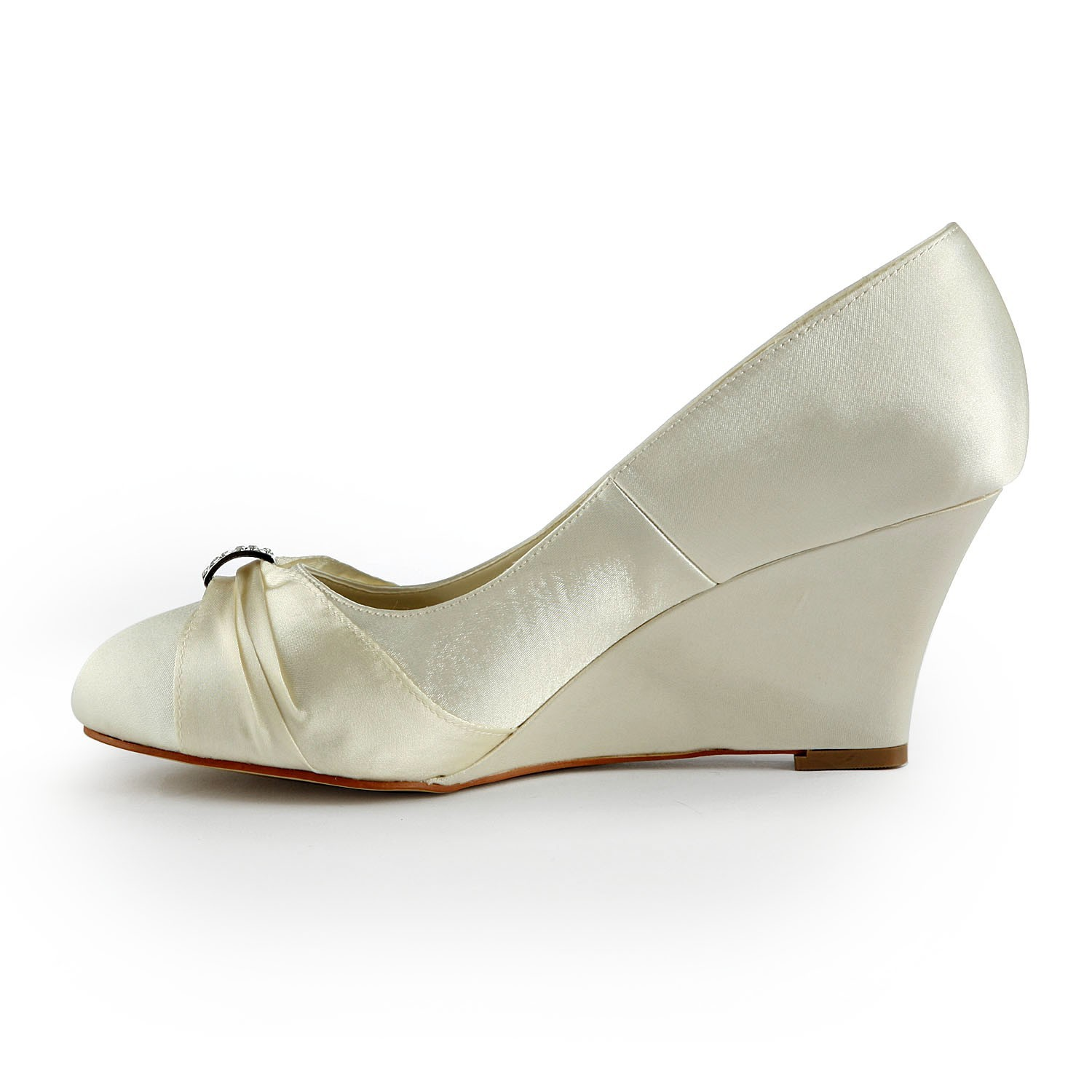 Wedge Heel Shoes For Wedding: Women's Satin Wedge Heel Wedges With Rhinestone Ivory