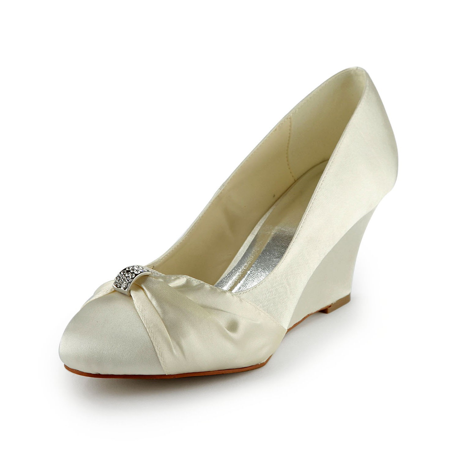 Women's Satin Wedge Heel Wedges With Rhinestone Ivory