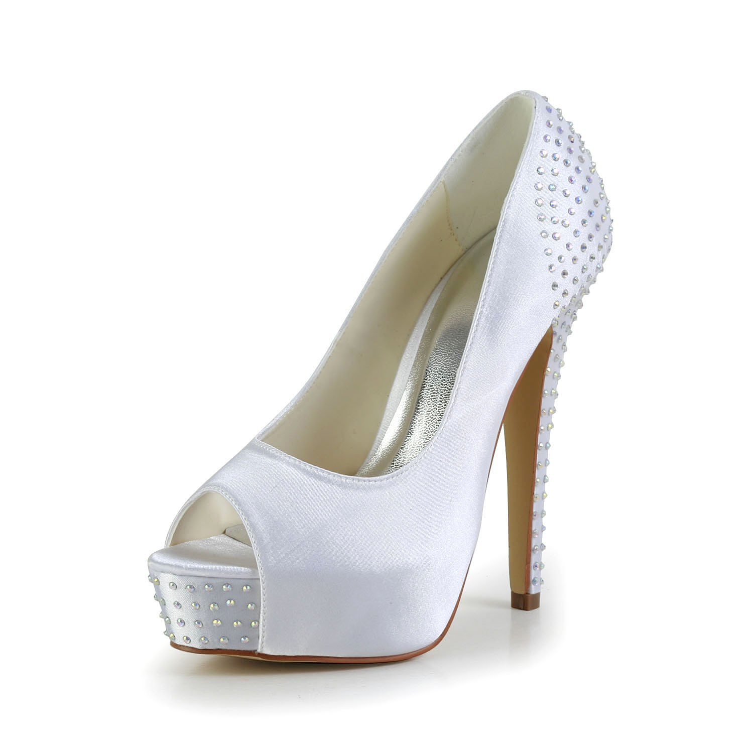 56fa91ac1f25 Women s Satin Stiletto Heel Peep Toe Platform White Wedding Shoes ...