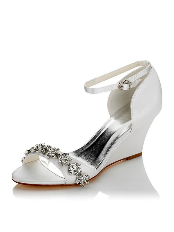 Women\'s Satin PU Peep Toe Wedge Heel Wedding Shoes - Hebeos Online